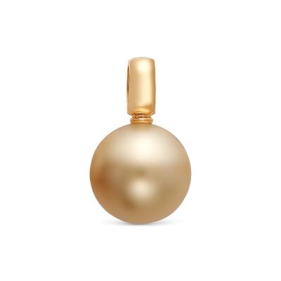 Подвеска из золота 750 пробы с золотистой Австралийской жемчужиной 12-12,5 мм