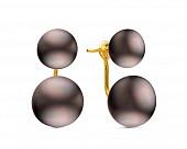 """Пусеты """"Диор"""" из серебра с черными речными жемчужинами 8,5-11 мм"""