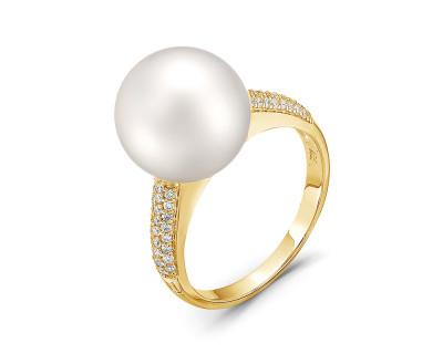 Кольцо из серебра с белой японской речной жемчужиной 13-14 мм