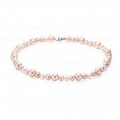Ожерелье из розового круглого речного жемчуга. Жемчужины 7-10 мм