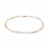 """Ожерелье """"микс"""" из розового и белого круглого речного жемчуга 6-8,5 мм"""