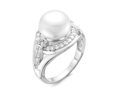 Кольцо из серебра с белой речной жемчужиной 10,5 мм