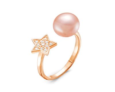 """Кольцо """"Диор"""" из серебра с розовой речной жемчужиной 8,5-9 мм"""