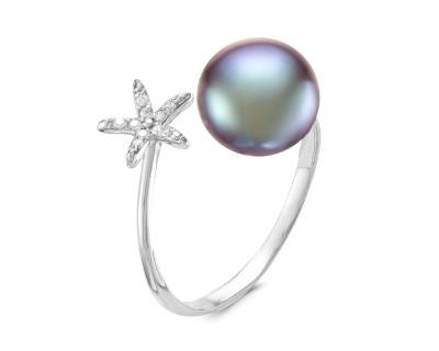 """Кольцо """"Диор"""" из серебра с черной речной жемчужиной 9,5-10 мм"""