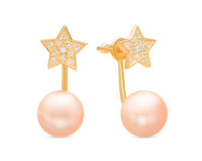 """Пусеты """"Диор"""" из серебра с розовыми речными жемчужинами 10,5-11 мм"""
