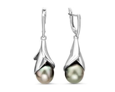 Серьги из серебра c черными морскими Таитянскими жемчужинами 9-10 мм