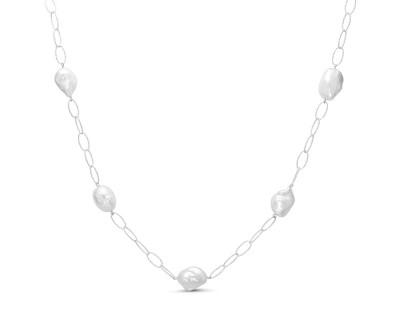 Длинная цепочка из серебра с белыми барочными жемчужинами 12-15 мм