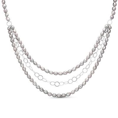 Ожерелье в 3 ряда из серого барочного жемчуга. Жемчужины 8-8,5 мм