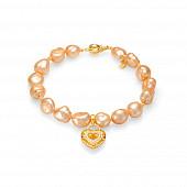 """Браслет """"Сердце"""" из золотистого барочного жемчуга 10-11 мм с подвеской из серебра"""