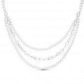 """Ожерелье """"Клеопатра"""" в 3 ряда из белого речного жемчуга. Жемчужины 7,5-8 мм"""
