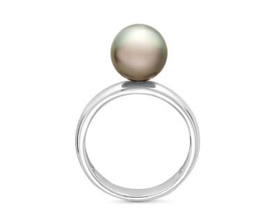Кольцо из белого золота с черной морской Таитянской жемчужиной 9-9,5 мм