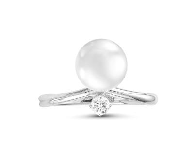 """Кольцо """"Прикосновение"""" из белого золота с белой морской жемчужиной Акойя 8,5-9 мм"""