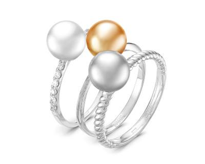"""Кольцо """"Трио"""" из белого золота с морскими жемчужинами Акойя 7,5-8 мм"""