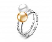"""Кольцо """"Дуэт"""" из белого золота с белой и золотой жемчужинами Акойя 7,5-8 мм"""
