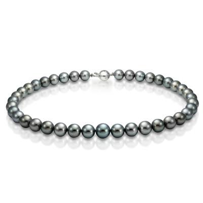 Ожерелье из черного круглого морского Таитянского жемчуга 10,3-12,8 мм