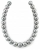 Ожерелье из серебристого круглого морского Таитянского жемчуга 11,1-14,1 мм