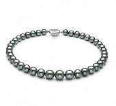 Ожерелье из серебристого круглого морского Таитянского жемчуга 10-12,6 мм