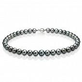 Ожерелье из черного круглого морского Таитянского жемчуга 11-11,9 мм