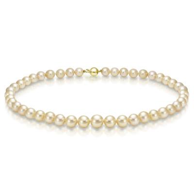 Ожерелье из золотого круглого морского Австралийского жемчуга 10-11,6 мм
