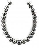 Ожерелье из черного круглого морского Таитянского жемчуга 13-15,2 мм
