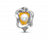 Кулон из серебра с белой речной жемчужиной 7 мм
