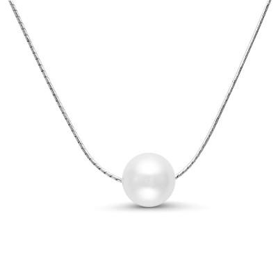 Цепочка из серебра 925 пробы с белой круглой речной жемчужиной 9-10 мм