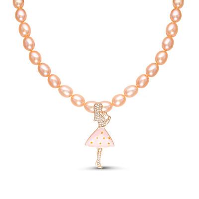 """Детское ожерелье. Розовый жемчуг """"Рис"""" размером 6-6,5 мм"""