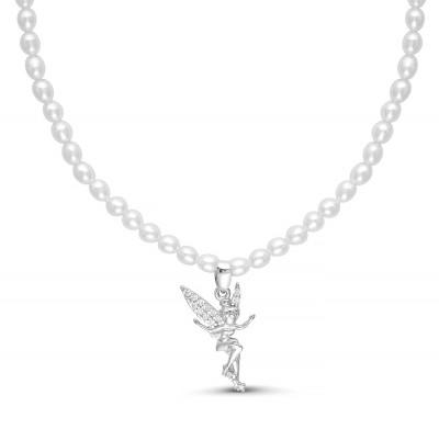 Детское ожерелье с подвеской. Белый жемчуг 3-5 мм