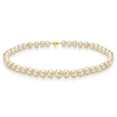 Ожерелье из золотого круглого морского Австралийского жемчуга 8-10,8 мм