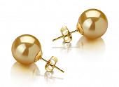 Пусеты из золота 585 пробы с морскими золотистыми Австралийскими жемчужинами 11-11,5 мм