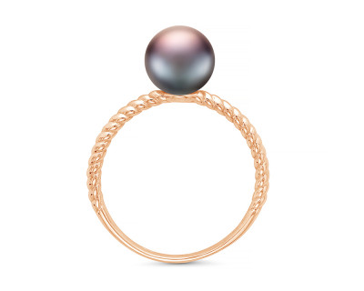 Кольцо из серебра с черной речной жемчужиной 7-7,5 мм