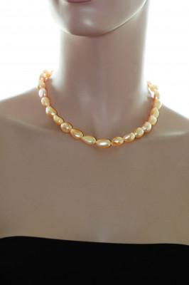 Ожерелье из золотого барочного речного жемчуга. Жемчужины 10-11 мм