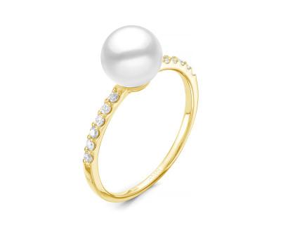 """Кольцо """"Дуэт"""" из серебра с речными жемчужинами """"микс""""  7-7,5 мм"""