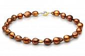 Ожерелье из барочного пресноводного шоколадного жемчуга. Жемчужины 12-14 мм
