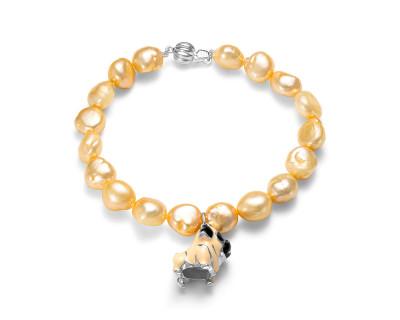 """Детский браслет. Золотистый жемчуг """"Барокко"""" размером 9-10 мм"""