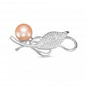 Брошь из серебра с розовой речной жемчужиной 9,5-10 мм