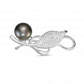 Брошь из серебра с черной речной жемчужиной 8,5-9 мм