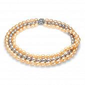 """Ожерелье 3-рядное """"микс"""" из рисообразного речного жемчуга. Жемчужины 10-11 мм"""