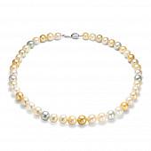 """Ожерелье """"микс"""" из морского круглого Австралийского жемчуга 9-10 мм"""