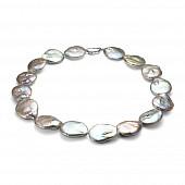 Ожерелье из серого барочного речного жемчуга. Жемчужины 22-26 мм