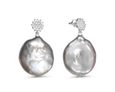 """Серьги из серебра с серебристыми жемчужинами """"Барокко"""" 21-27 мм"""