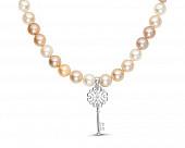 Ожерелье из розового и белого жемчуга с подвеской из серебра. Жемчужины 9-10 мм