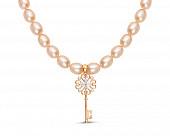 """Ожерелье из розового жемчуга с подвеской из серебра """"Ключик"""". Жемчуг 7,5-8 мм"""
