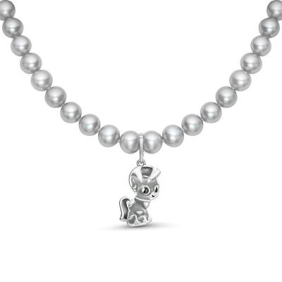Детское ожерелье с Пони. Серый жемчуг размером 5,5-6 мм