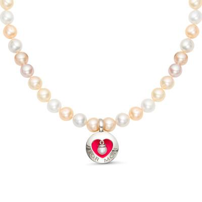Ожерелье из розового и белого жемчуга с подвеской из серебра. Жемчуг 6,5-7 мм