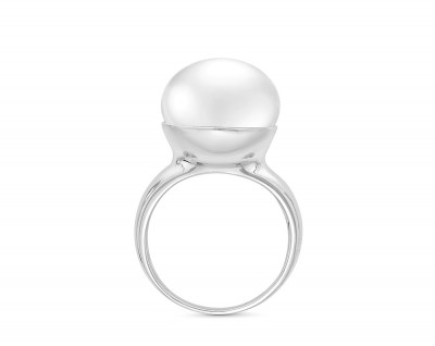 Кольцо из серебра с белой речной жемчужиной 14 мм