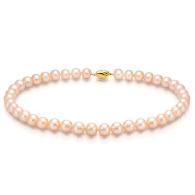 Ожерелье из круглого речного розового жемчуга. Жемчужины 10,5-11,5 мм