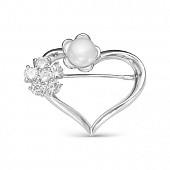 """Брошь """"Сердце"""" из серебра с белой речной жемчужиной 8,5-9 мм"""