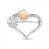 """Брошь """"Сердце"""" из серебра с розовой жемчужиной 8,5-9 мм"""