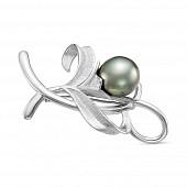 Брошь из серебра с черной Таитянской жемчужиной 15-15,5 мм